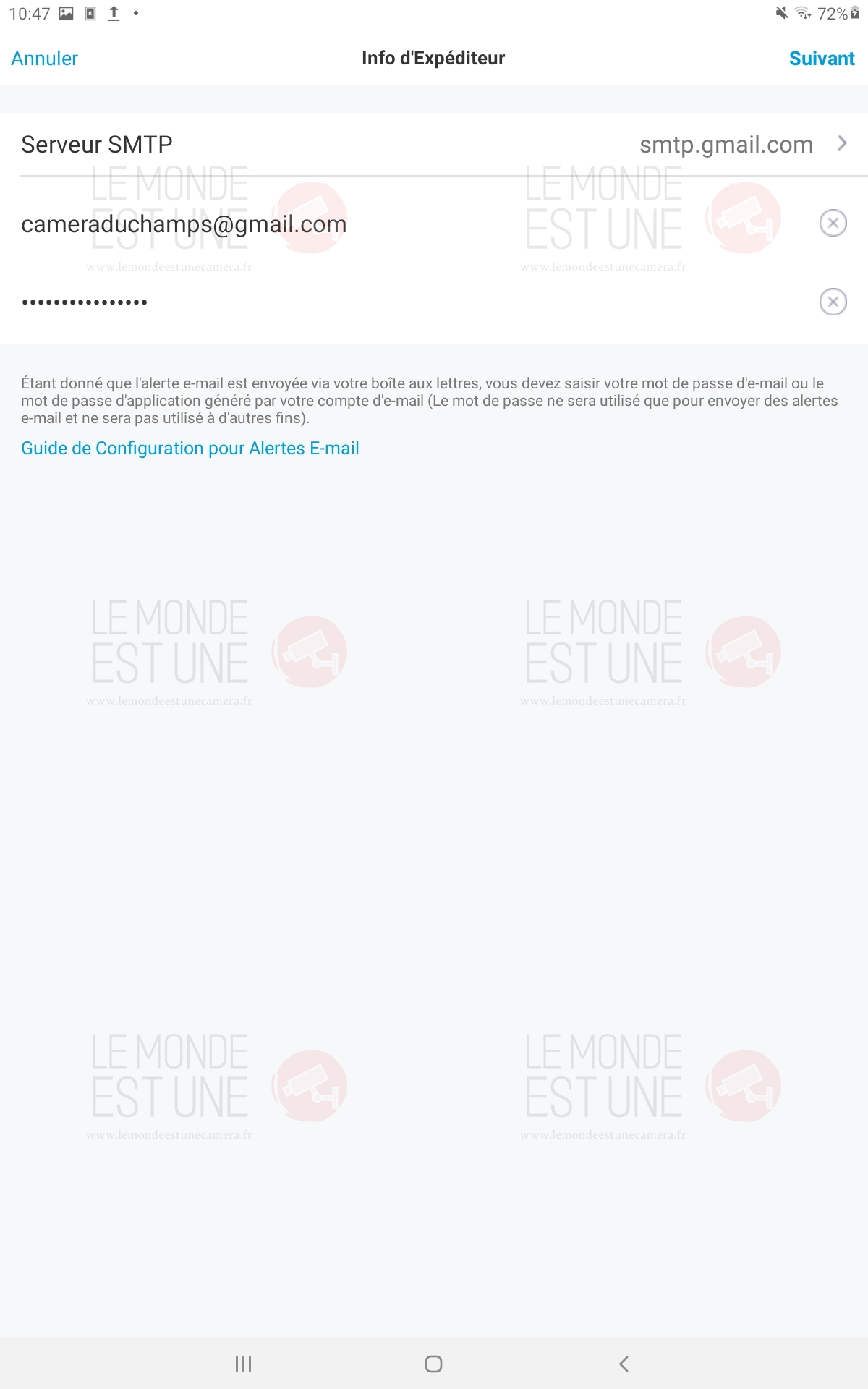 page d'accueil de l'application Reolink
