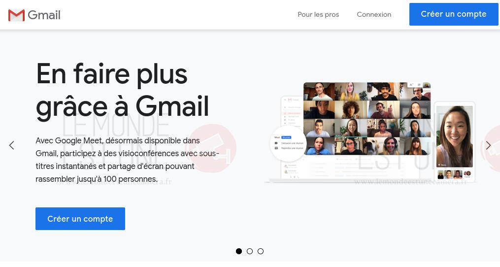 page d'accueil de gmail